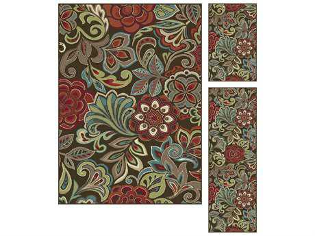 Tayse Rugs Deco Dilek Rectangular Brown Area Rug Set