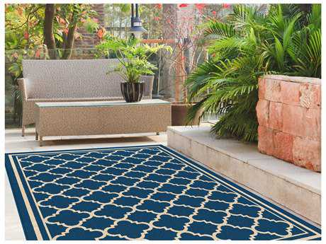 Tayse Rugs Garden City Tangier Rectangular Navy Area Rug