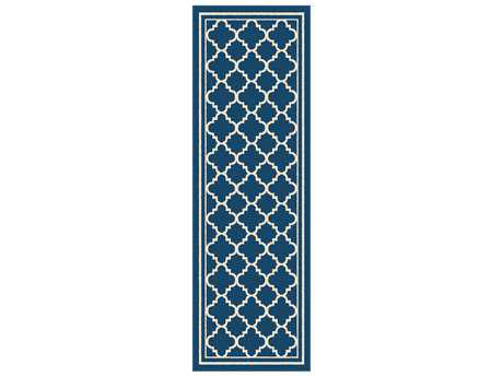 Tayse Rugs Garden City Tangier Rectangular Navy Runner Rug