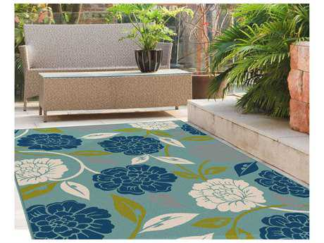 Tayse Rugs Garden City Peony Aqua Rectangular Area Rug
