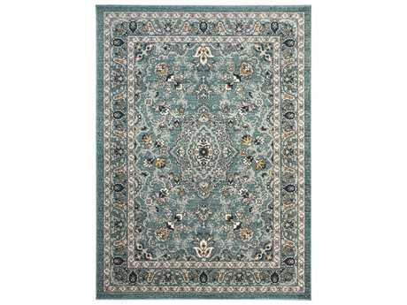Tayse Rugs Kensington Faris Rectangular Aqua Area Rug