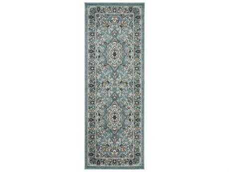 Tayse Rugs Kensington Faris Rectangular Aqua Runner Rug
