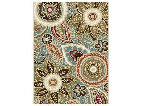 Tayse Majesty Rectangular Seafoam Area Rug