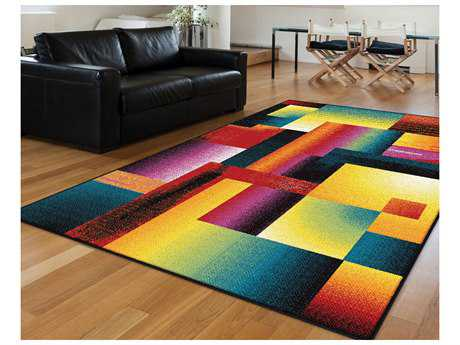 Tayse Rugs Symphony Mondria Rectangular Multi-Color Area Rug