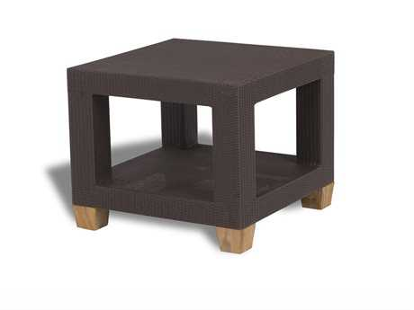 Three Birds Casual Ciera Teak Wicker 24 Square Side Table