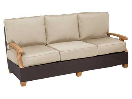 Three Birds Casual Ciera Teak Wicker Deep Seating 3 Seater Sofa