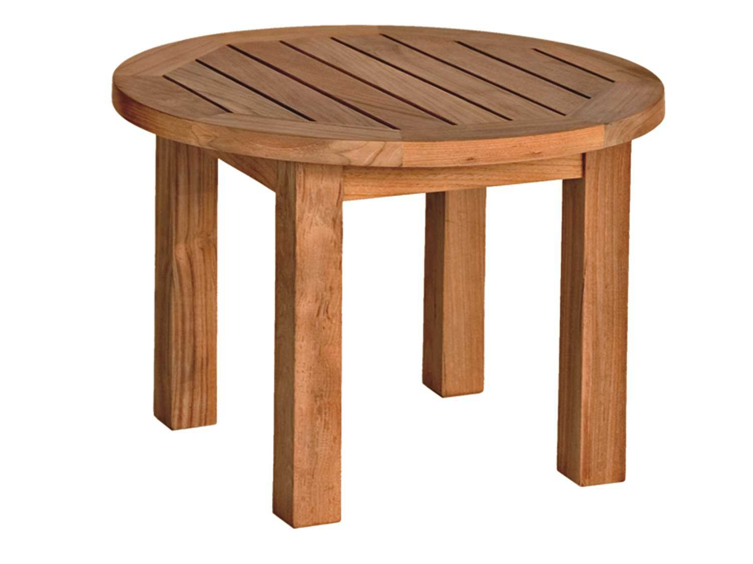 Three birds casual canterbury teak 20 round low side table for Low end table