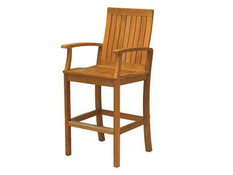 Three Birds Casual Monterey Teak Bar Chair with Arms PatioLiving