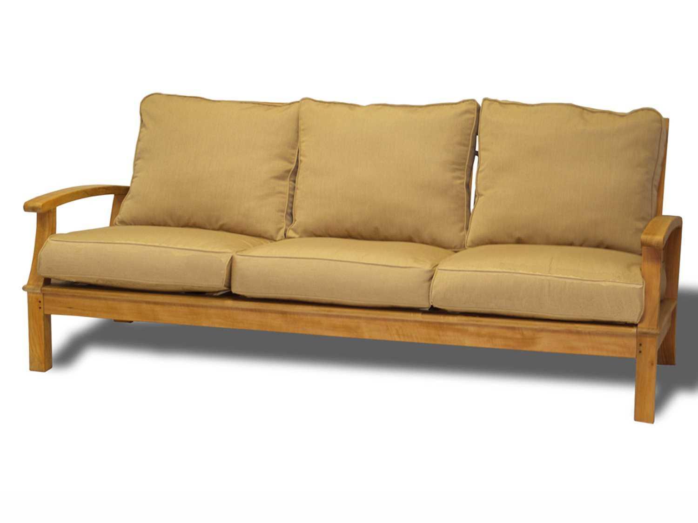 Three Birds Casual Monterey Teak Deep Seating 3 Seat Sofa