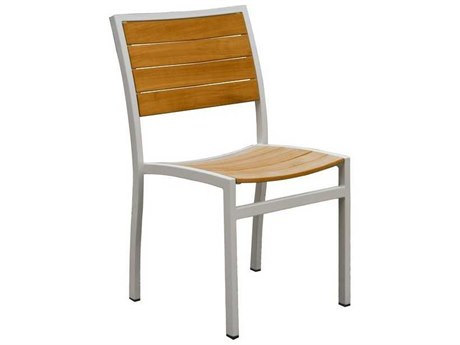 Three Birds Casual Soho Aluminum Teak Stacking Side Chair in Silver (Price Includes 4 Chairs)