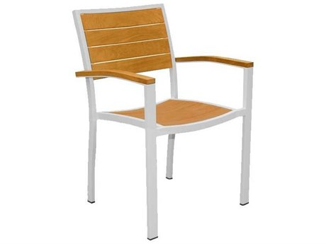 Three Birds Casual Soho Aluminum Teak Stacking Armhchair in White (Price Includes 4 Chairs)