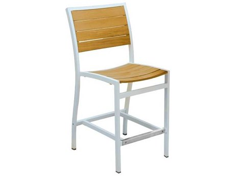 Three Birds Casual Soho Aluminum Teak Counter Height Side Chair in Silver (Price Includes 4 Chairs)