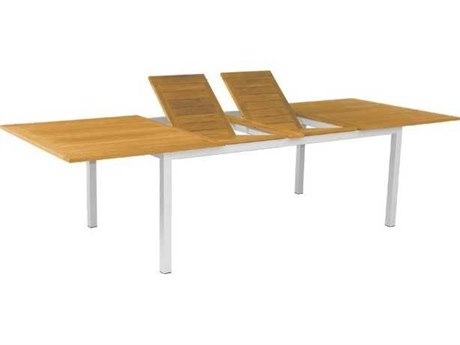 Three Birds Casual Soho Silver Aluminum Frame with Teak Top 80-115''W x 45''D Rectangular Extension Dining Table