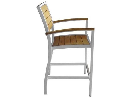 Three Birds Casual Soho Aluminum Teak Counter Height Arm Chair in White (Price Includes 4 Chairs)