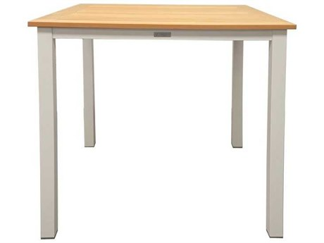 Three Birds Casual Soho Aluminum 36 Square Teak Slat Top Counter Height Table in Silver