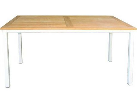Three Birds Casual Soho Aluminum 72 x 36 Rectangular TeakSlat Top Counter Height Table in White