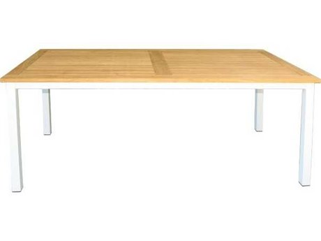 Three Birds Casual Soho White Aluminum Frame with Teak Top 72''W x 36''D Rectangular Dining Table