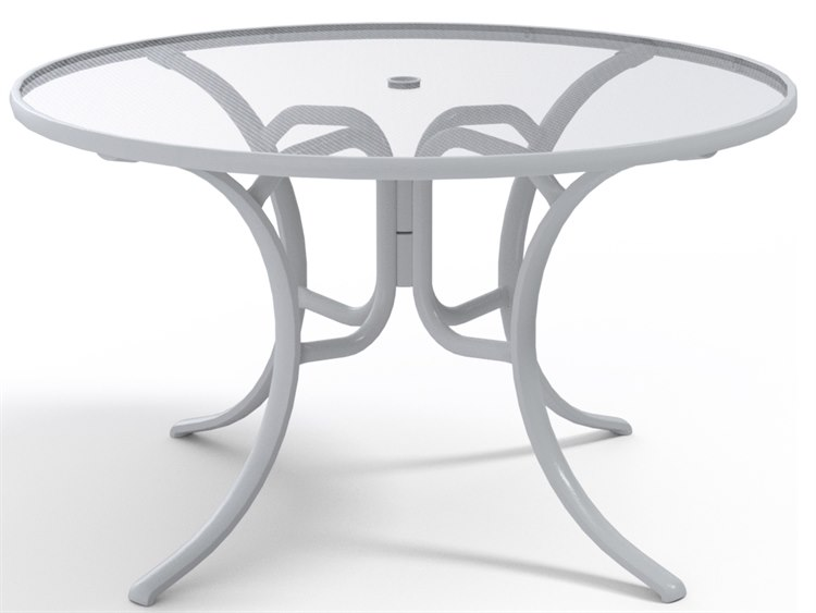 Telescope Casual Glass Top Aluminum 48''Wide Round Dining Table with Umbrella Hole PatioLiving