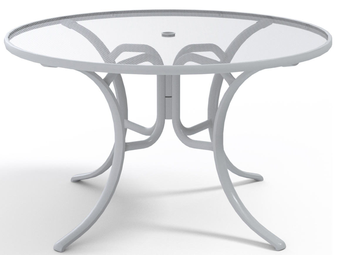 Telescope Casual Glass Top Aluminum 48 Wide Round Dining Table With Umbrella Hole Tc2770