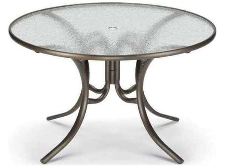 Telescope Casual Obscure Acrylic 48 Round Dining Table With Umbrella Hole