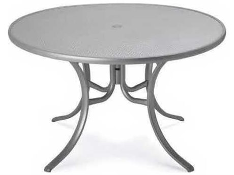 48'' Round Embossed Aluminum Dining Table With Umbrella Hole