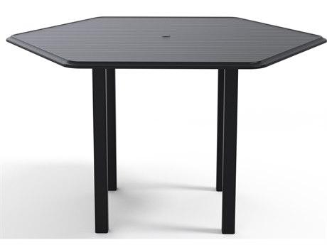Telescope Casual Aluminum Slat Top 63'' Hexagon Bar Height Table with Umbrella Hole