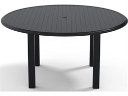 Telescope Casual Aluminum Slat Top 56'' Wide Round Dining Height Table with Umbrella Hole