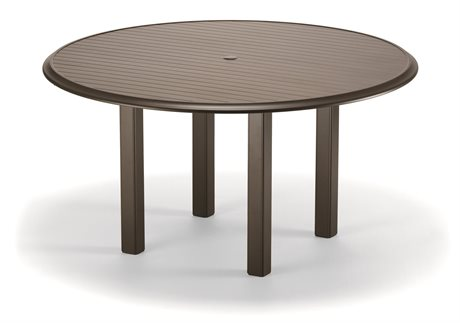 Telescope Casual Aluminum Slat Top 56 Round Dining Height Table with Hole