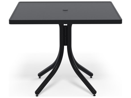 Telescope Casual Aluminum Slat Top 36''Wide Square Dining Height Table with Umbrella Hole