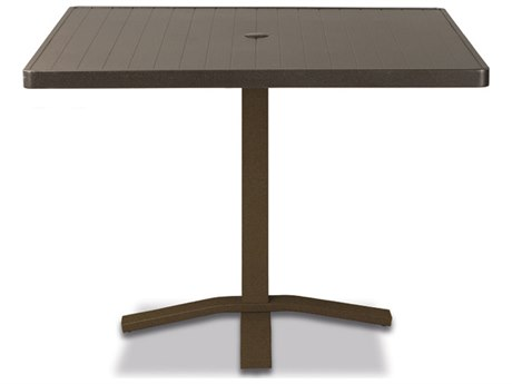 Telescope Casual Aluminum Slat Top 36''Wide Square Pedestal Dining Height Table with Umbrella Hole