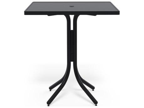 Telescope Casual Aluminum Slat Top 36''Wide Square Bar Height Table with Umbrella Hole