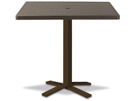 Telescope Casual Aluminum Slat Top 36''Wide Square Pedestal Bar Height Table with Umbrella Hole