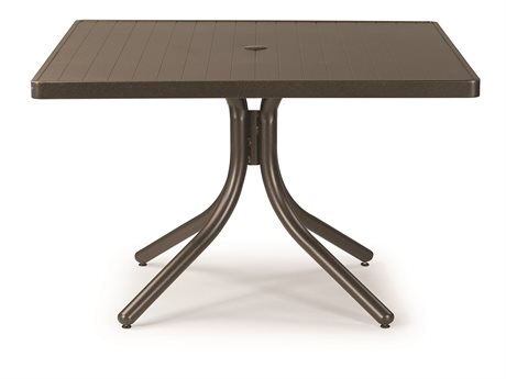 Telescope Casual Aluminum Slat Top 36 Square Chait Height Table with Hole