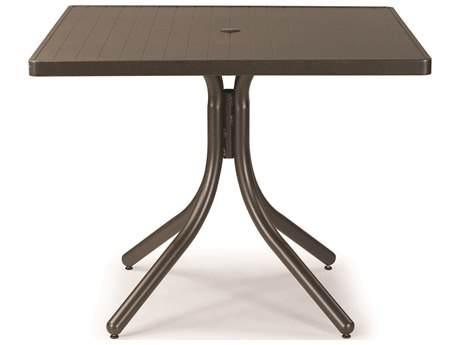 Telescope Casual Aluminum Slat 36'' Square Dining Table with Umbrella Hole