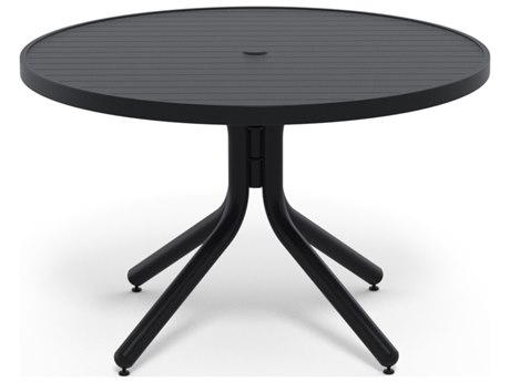 Telescope Casual Aluminum Slat Top 36'' Wide Round Chat Height Table with Umbrella Hole