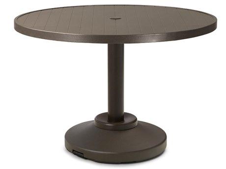 Telescope Casual Aluminum Slat 36'' Wide Round Dining Table with Umbrella Hole