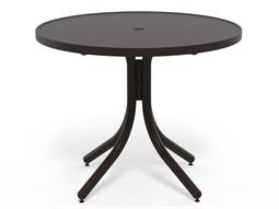 Telescope Casual Aluminum Slat Top 36'' Wide Round Dining Height Table with Umbrella Hole