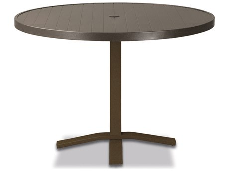 Telescope Casual Aluminum Slat Top 36''Wide Round Pedestal Dining Height Table with Umbrella Hole