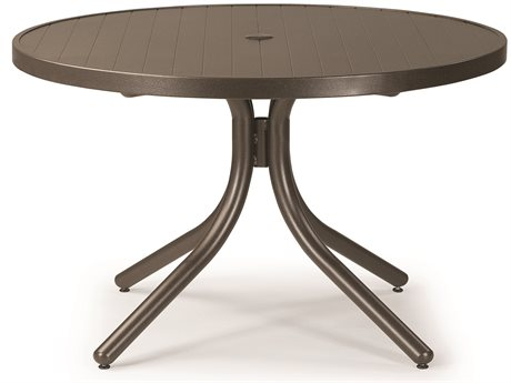 Telescope Casual Aluminum Slat Top 36 Round Chat Table with Hole