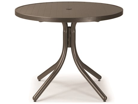 Telescope Casual Aluminum Slat Top 36'' Round Dining Height Table with Umbrella Hole