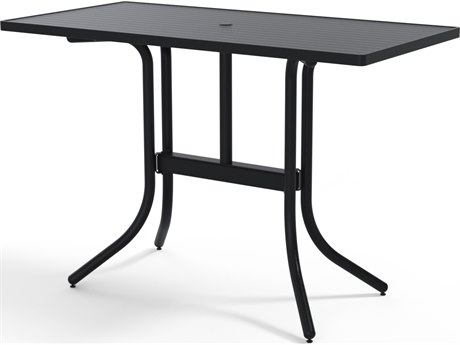 Telescope Casual Aluminum Slat Top 60''W x 30''D Rectangular Bar Height Table with Umbrella Hole