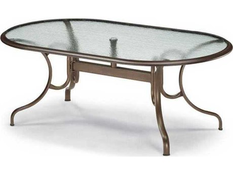 Telescope Casual Glass Top 43 x 75 Oval Dining Table with Umbrella Hole