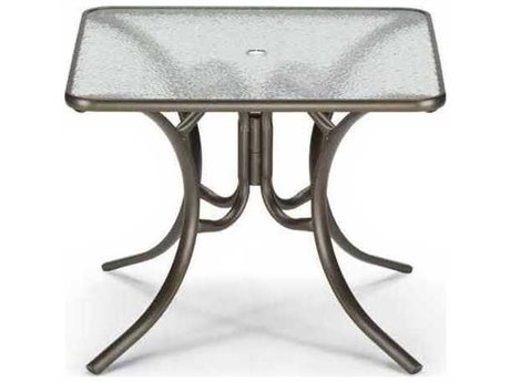 Telescope Casual Glass Top 36 Square Dining Table with Umbrella Hole