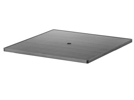 Telescope Casual Aluminum Slat Top 42''Wide Square Dining Table with Umbrella Hole