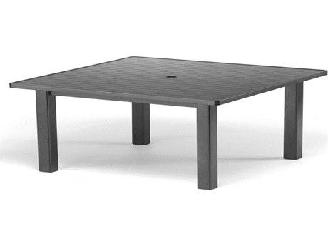 Telescope Casual Aluminum Slat Top 42''Wide Square Coffee Height Table with Umbrella Hole