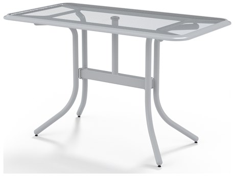 Telescope Casual Glass Top Aluminum 60''W x 32''D Rectangular Counter Height Table with Umbrella Hole