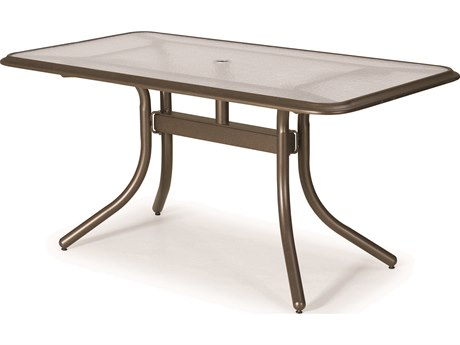 Telescope Casual Glass 60'' x 32'' Rectangular Dining Height Table with Ogee Rim & Umbrella Hole