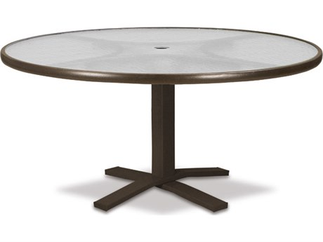 Telescope Casual Glass Top Aluminum 42''Wide Round Pedestal Chat Height Table with Umbrella Hole