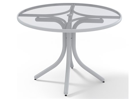 Telescope Casual Glass Top Aluminum 42''Wide Round Dining Height Table with Umbrella Hole