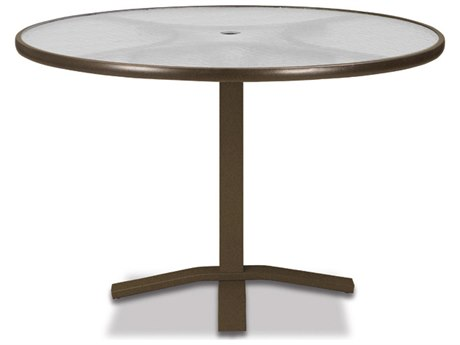 Telescope Casual Glass Top Aluminum 42''Wide Round Pedestal Dining Height Table with Umbrella Hole